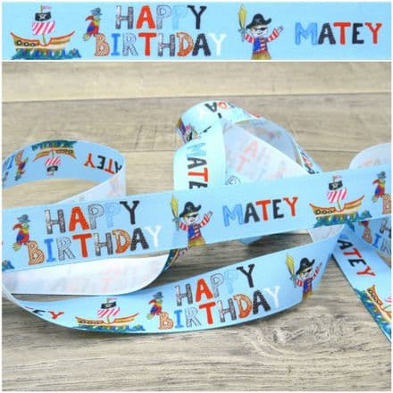 25mm Happy Birthday Pirate - Berisfords Ribbon